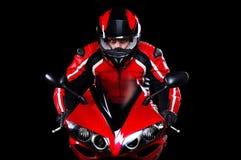 Motociclista nel rosso Fotografia Stock