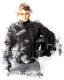 Motociclista no preto ilustração stock