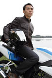 Motociclista novo Foto de Stock Royalty Free