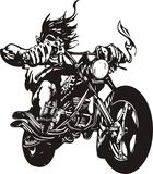 Motociclista pazzesco. Fotografie Stock
