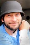 Motociclista sciocco con il casco Fotografie Stock