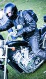 Motociclista sul motociclo Fotografie Stock