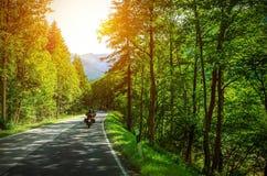 Motociclista sulla strada montagnosa Immagine Stock