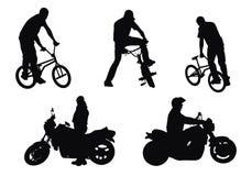 Motociclistas contra motociclista ilustração stock