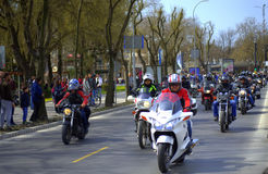 Motociclisti di centinaia Fotografia Stock Libera da Diritti