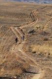 Motociclisti in strada del paese (deserto) immagini stock