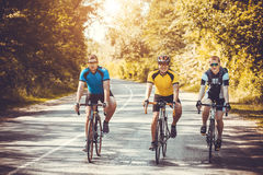 Motociclisti su un allenamento di estate su un sentiero forestale Fotografia Stock Libera da Diritti
