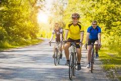 Motociclisti su un allenamento di estate su un sentiero forestale Fotografia Stock