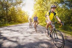 Motociclisti su un allenamento di estate su un sentiero forestale Immagine Stock