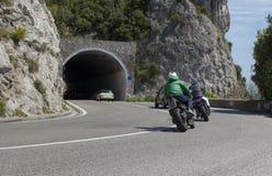 Motociclisti sulla costa di Amalfi Immagine Stock Libera da Diritti
