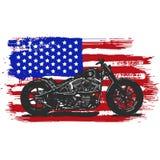 Motociclo americano d'annata disegnato a mano ed inchiostrato del selettore rotante con la bandiera americana illustrazione di stock