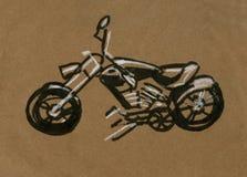 Motociclo che corre siluetta, illustrazione di tiraggio della mano della motocicletta fotografie stock