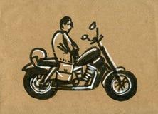 Motociclo che corre siluetta, illustrazione di tiraggio della mano della motocicletta immagine stock libera da diritti