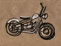 Motociclo che corre siluetta, illustrazione di tiraggio della mano della motocicletta fotografia stock libera da diritti