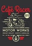 Motociclo classico del corridore del caffè per la stampa con la struttura di lerciume Progettazione di stampa della maglietta Immagini Stock