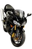 Motociclo di corsa nero isolato Immagini Stock