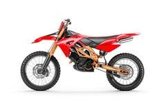 Motociclo di corsa rosso per il motocross dalla vista laterale fotografia stock