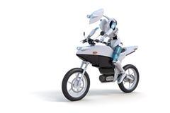 Motociclo di guida del robot Fotografia Stock Libera da Diritti