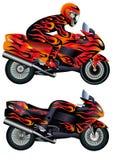 Motociclo di velocità con la persona Fotografia Stock