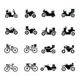 Motociclo e bicicletta, icone di trasporto fotografia stock libera da diritti