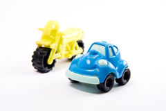 Motociclo ed automobile Fotografia Stock