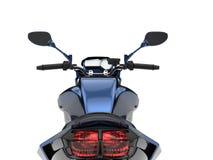Motociclo moderno blu metallico impressionante - colpo del primo piano dei fanali posteriori illustrazione di stock