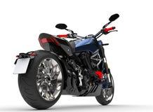Motociclo moderno blu metallico impressionante del selettore rotante - colpo del primo piano della ruota posteriore royalty illustrazione gratis