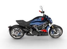 Motociclo moderno blu metallico impressionante del selettore rotante - vista laterale di lato dispari superiore illustrazione di stock