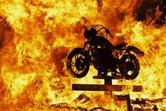 Motociclo nel fuoco Fotografia Stock