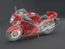 Motociclo rosso alta tecnologia Immagini Stock