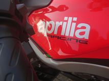 Motociclo rosso di Aprilia Fotografie Stock