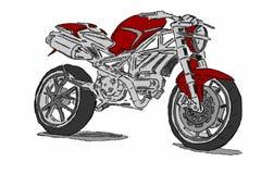 Motociclo su un fondo bianco Fotografie Stock