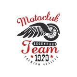 Motoclub logo, design element for motor or biker club, motorcycle repair shop, print for clothing vector Illustration on. Motoclub logo, design element for motor Royalty Free Stock Photo