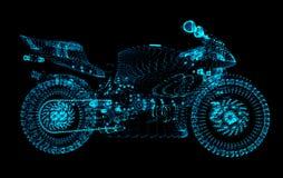 Motocrós de partículas El motocrós consiste en círculos y puntos Corredor de la motocicleta en fondo oscuro ilustración del vector