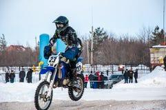 Motocrós en invierno Foto de archivo libre de regalías