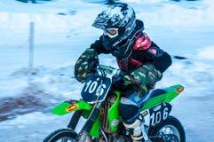 Motocrós en invierno Imagen de archivo libre de regalías