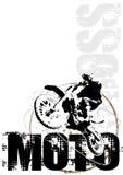 Motocroßkreisplakat-Hintergrundrot Stockfoto
