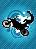 Motocroßradfahrerschattenbild stockfoto