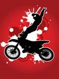 Motocroßradfahrerschattenbild lizenzfreie stockfotografie