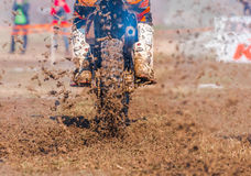 Motocross boots and wheel Royalty Free Stock Image