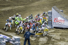 Motocross. Super Motocross event at the Olympic Stadium of Montreal, Quebec, Canada, october 2nd, 2010 Stock Image