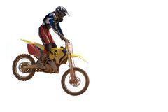 Motocross. Isolated image of a motocross participant in action royalty free stock images