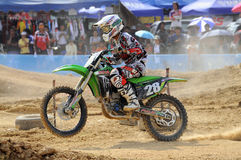 Motocross. NAN, THAILAND - JUN 03: An unidentified rider participates in the 3rd round (Class C Type) of Motocross 2012 Thailand motocross championship on June royalty free stock image