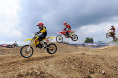Motocross. NAN, THAILAND - JUN 03: An unidentified rider participates in the 3rd round (Class C Type) of Motocross 2012 Thailand motocross championship on June stock photography