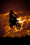 Motocross. Rider in a dirt track race stock photography