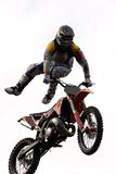 Motocross. Freestyle motocross jumper in the sky stock images