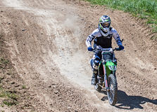 Motocross action. Racer in action on Motocross track in Germany. Picture taken during practice on May 07th 2016 Stock Photography