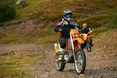 Motocross. Amateur motocross drivers have hobby ride on mountains road Stock Photos