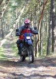 Motocross através da floresta Imagens de Stock