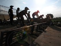 Motocross bicycle racers off the start during bmx finals Stock Image